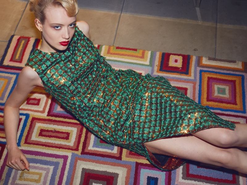 Marco de Vincenzo Green Embroidered Sequin Spaghetti Dress