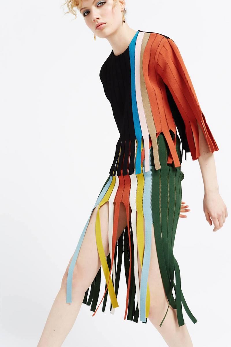 Marco de Vincenzo Green Stripe Tape Fringed Skirt