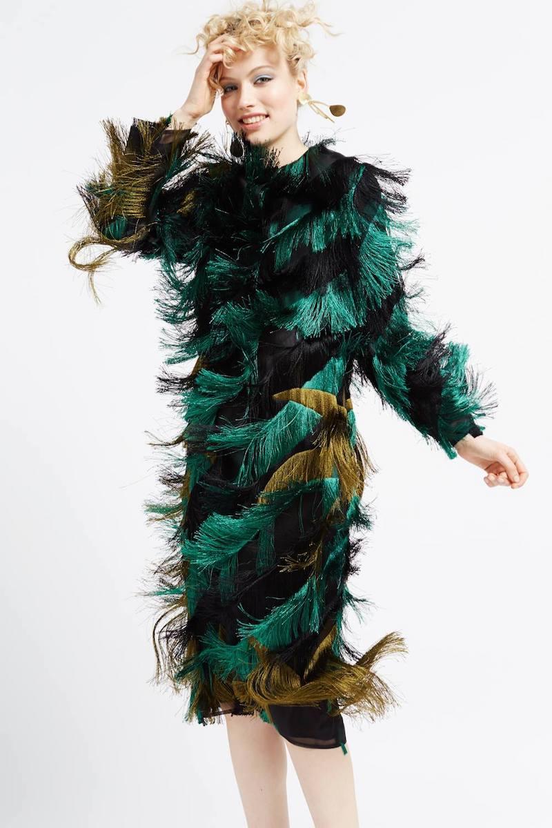 Marco de Vincenzo Multi Stripe Fringed Coat