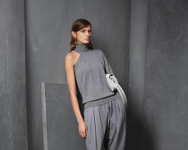 931847d9d973 Michael Kors Pre-Fall 2017 Collection at Bergdorf Goodman. Michael Kors  Collection One-Sleeve Cashmere Turtleneck Sweater