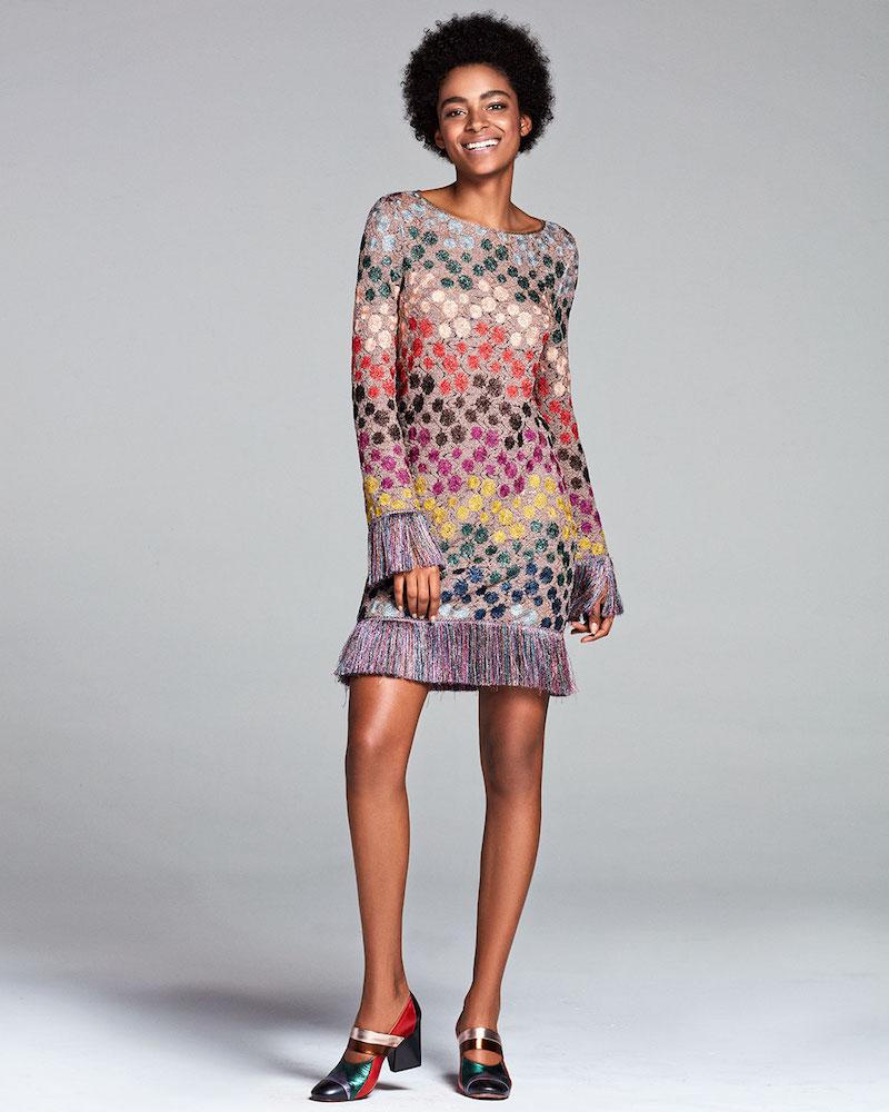 Missoni Long-Sleeve Lurex Polka-Dot Shift Dress with Fringe