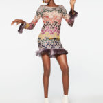 Missoni Long-Sleeve Lurex Polka-Dot Shift Dress with Fringe