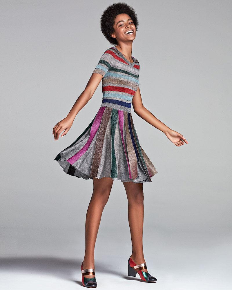 Missoni Short-Sleeve Metallic Stripe Dress