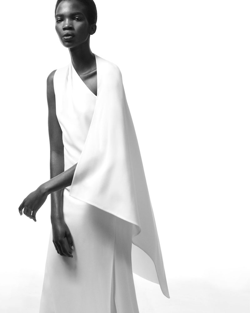 Narciso Rodriguez One-Sleeve Cape Gown