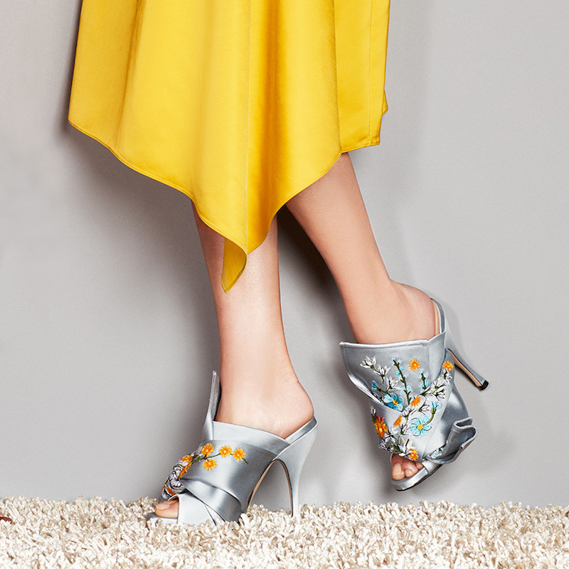 No. 21 Embroidered Satin Bow Mule Sandal