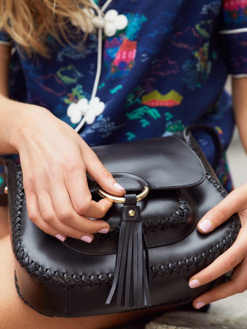 & Other Stories Ring & Tassel Leather Mini-Saddle Bag