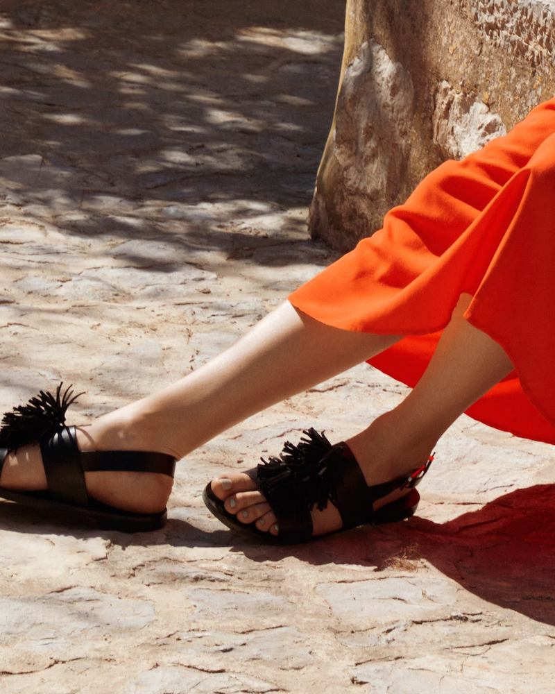 & Other Stories Suede Tassel Leather Sandalette