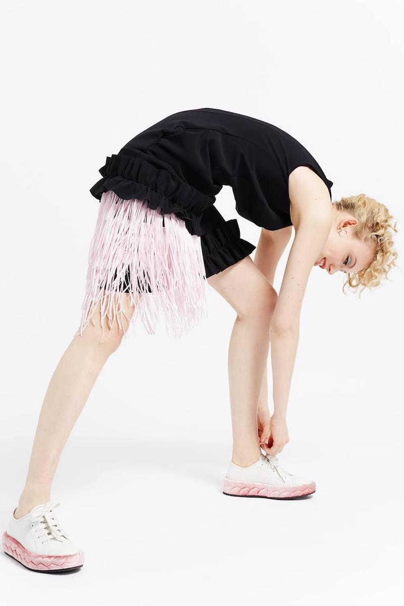 Paskal Black & Pink Fringed Panel Dress