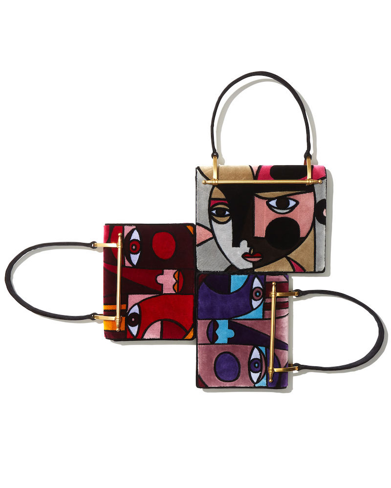 Prada Cubist Print Velvet Top Handle Bag