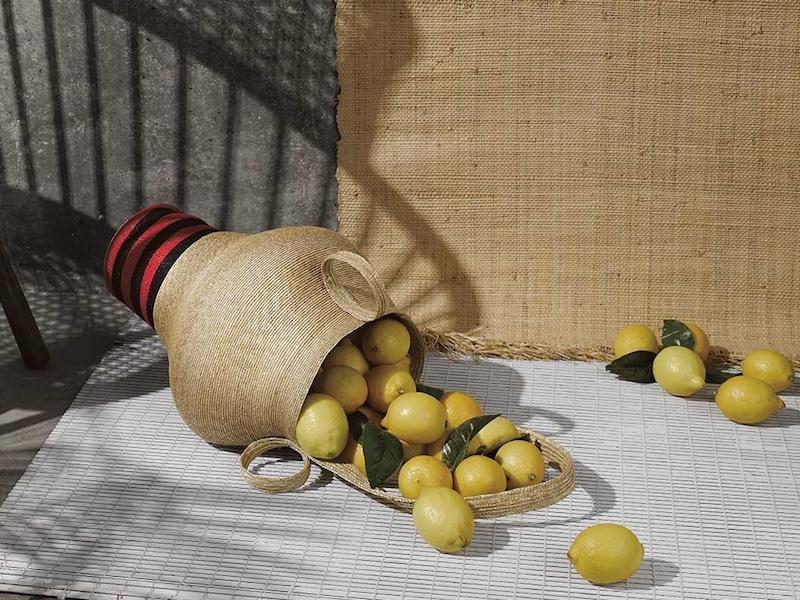 Rosie Assoulin Striped Woven-Straw Jug Bag