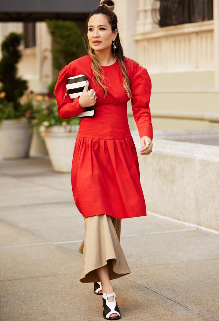 Sonia by Sonia Rykiel Poplin Long Sleeve Dress