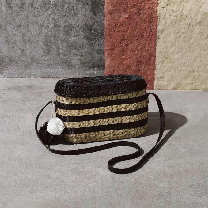 Sophie Anderson Costello Striped Wicker Shoulder Bag