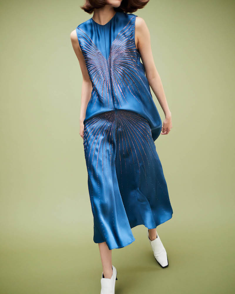 Stella McCartney Embellished Satin Midi-Dress