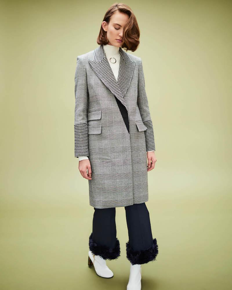 Stella McCartney Faux-Fur-Cuff Wool Crop Trousers