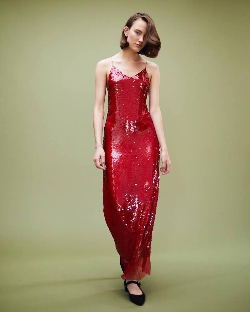 Stella McCartney Sequined Silk Chiffon Slipdress
