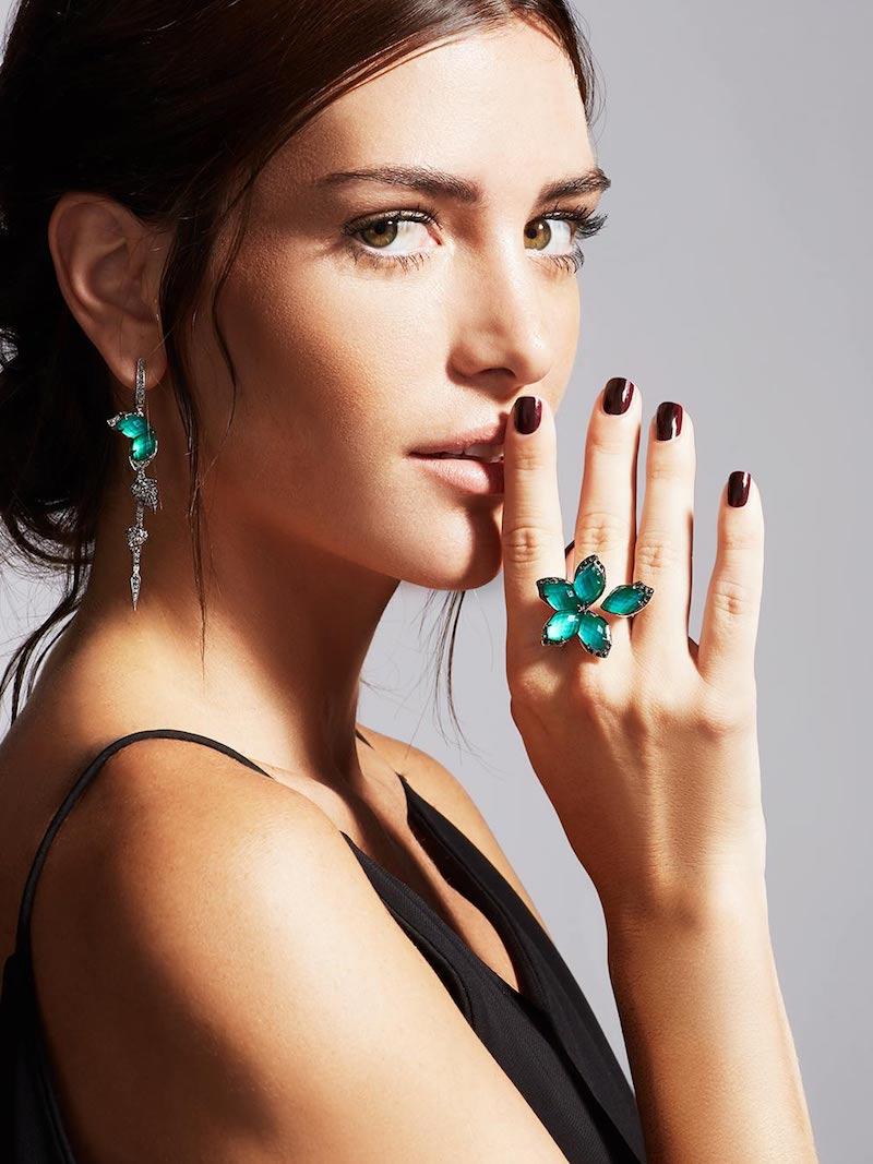 Stephen Webster Love Me Love Me Not Green Agate Quartz Flower Ring with Black Diamonds