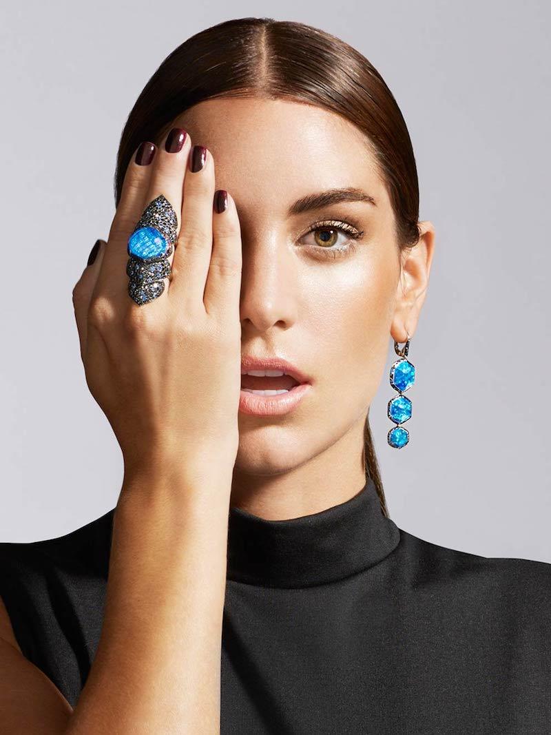 Stephen Webster Opal Haze Drop Earrings with Blue Sapphires & Black Diamonds