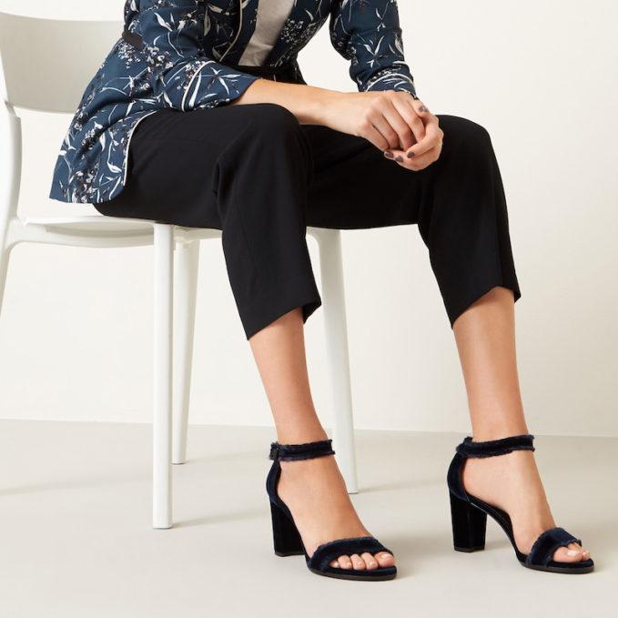 Stuart Weitzman Frayed Ankle Strap Sandal