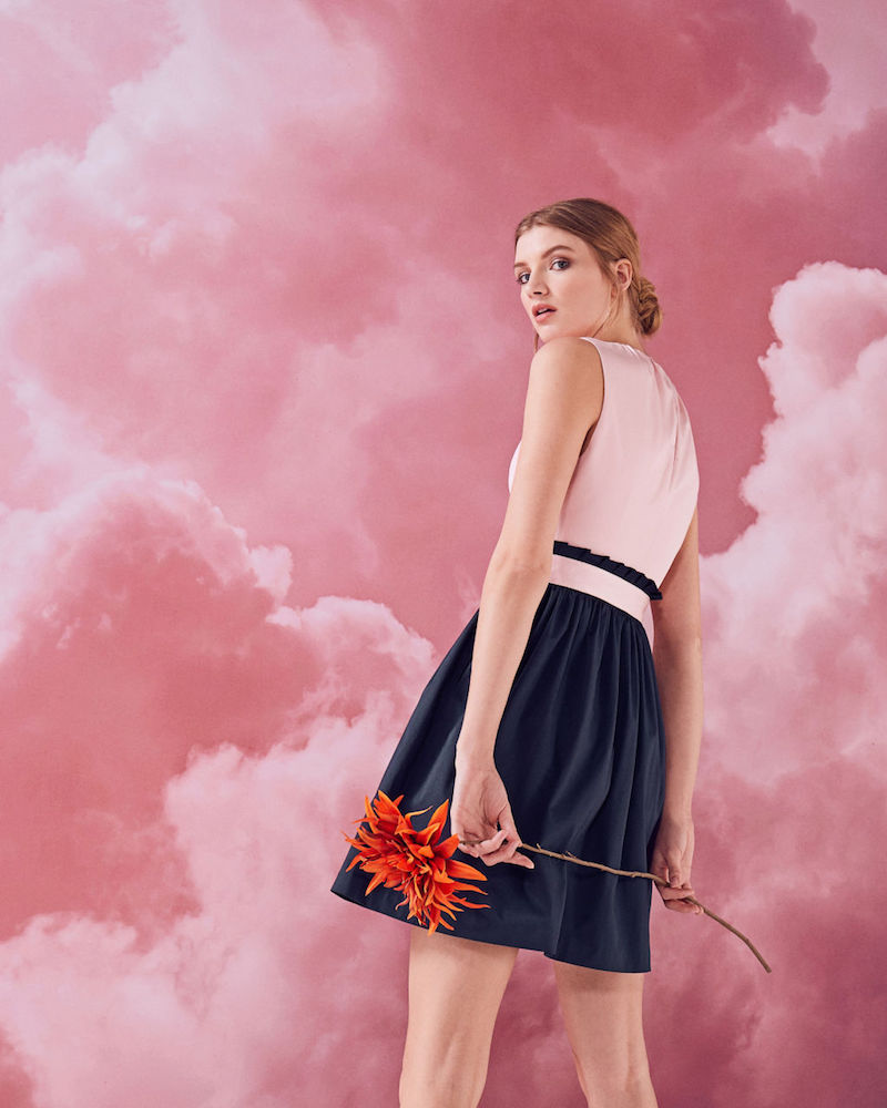 Ted Baker Alyy Frilled Waist Tie Cotton-Blend Dress