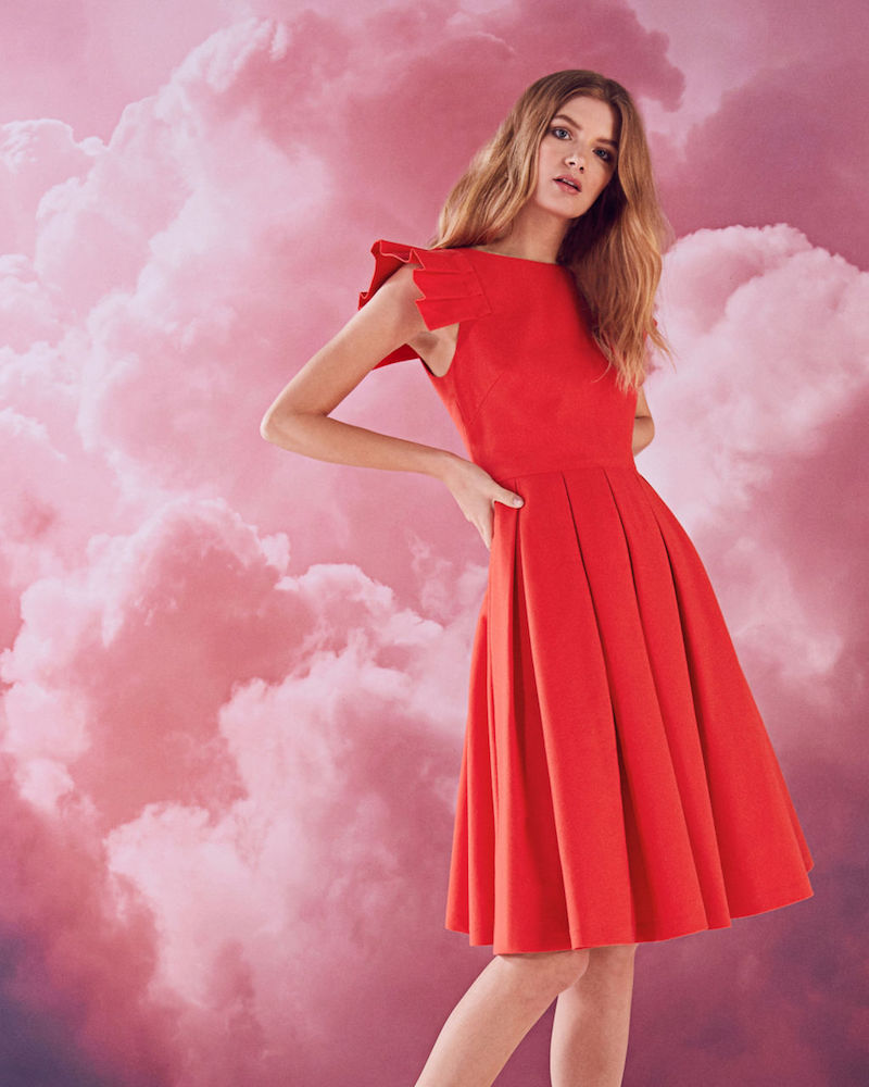 Ted Baker Arieal Frill Shoulder Cotton-Blend Dress