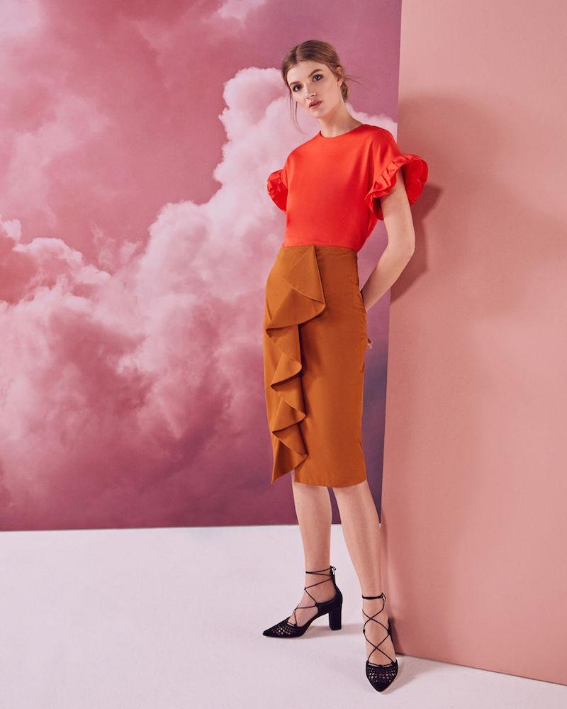 Ted Baker Selver Ruffle Detail Cotton-Blend Pencil Skirt