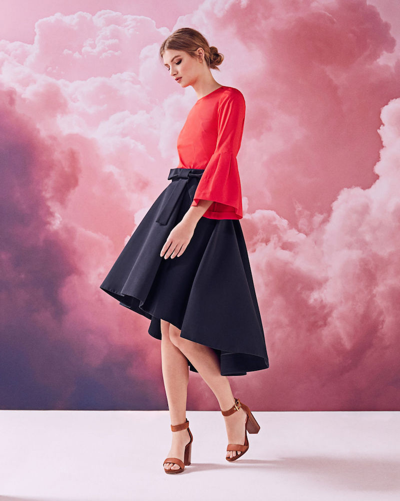 Ted Baker Sicile Dropped Hem Cotton-Blend Skirt