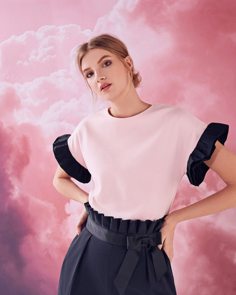 Ted Baker Tayina Colour-Block Ruffle Cotton-Blend Top