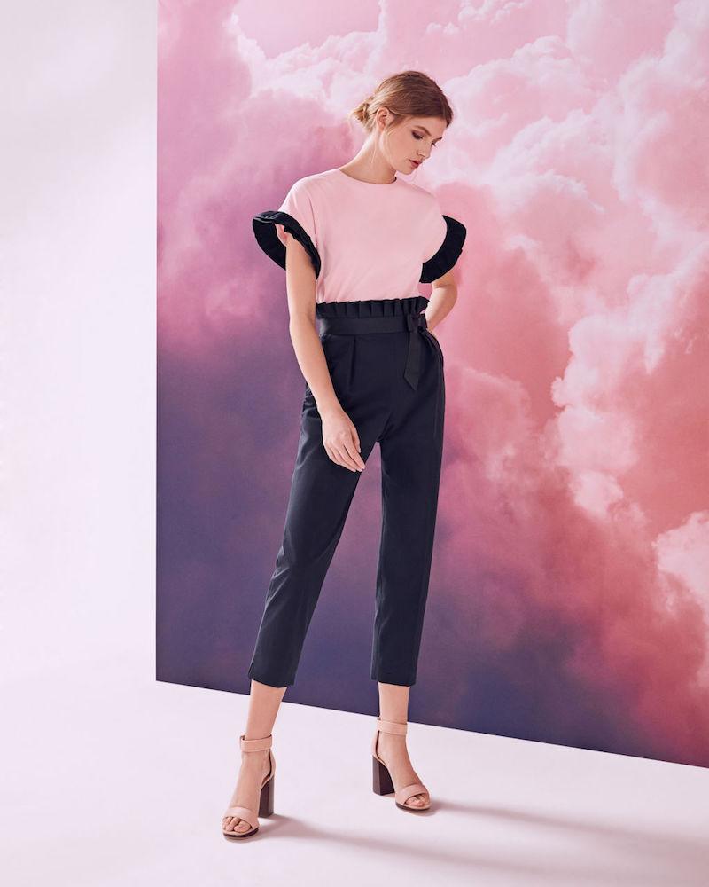 Ted Baker Verbo Ruffle Waistline Cotton-Blend Pants