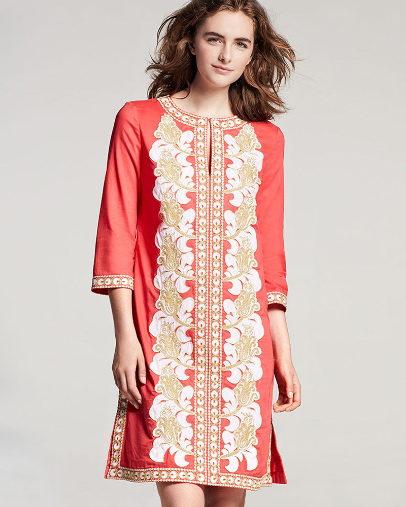 Tory Burch Embroidered 3 4-Sleeve Tunic Dress