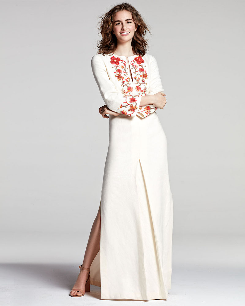 Tory Burch Embroidered Long-Sleeve Linen Gown