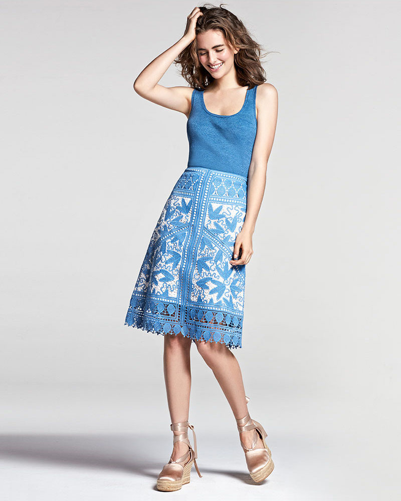 Tory Burch Embroidered Macrame A-Line Skirt