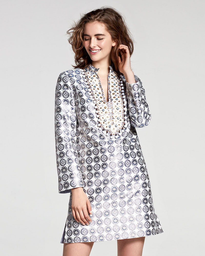 Tory Burch Embroidered Medallion Jacquard Tunic