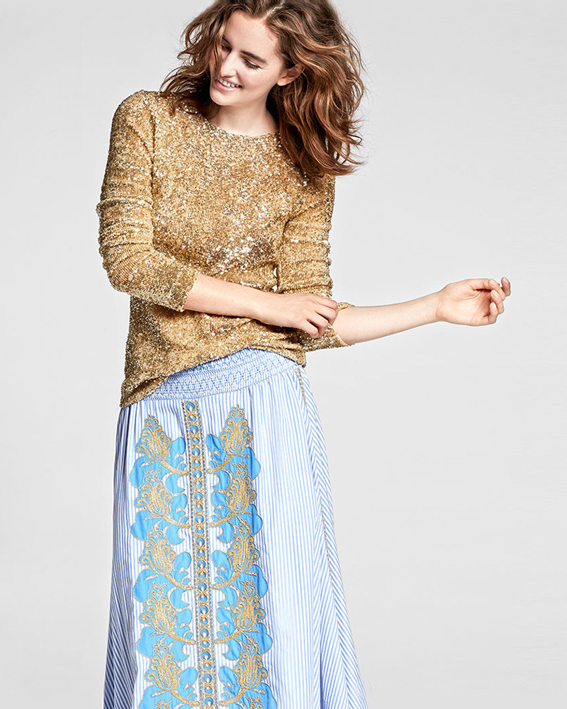 Tory Burch Long-Sleeve Sequined Top