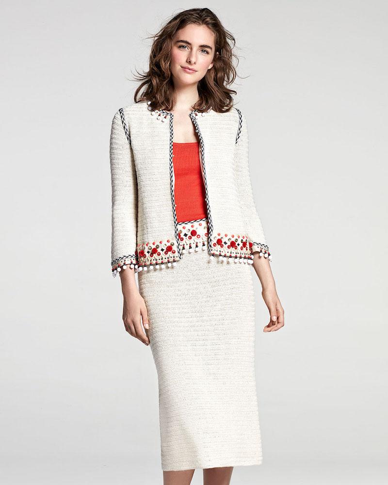 Tory Burch Pompom-Embellished Linen Jacket