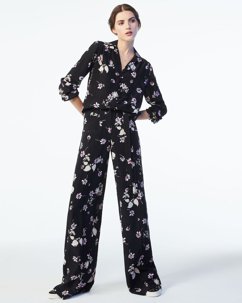 Valentino Floral-Print Silk Pajama Top
