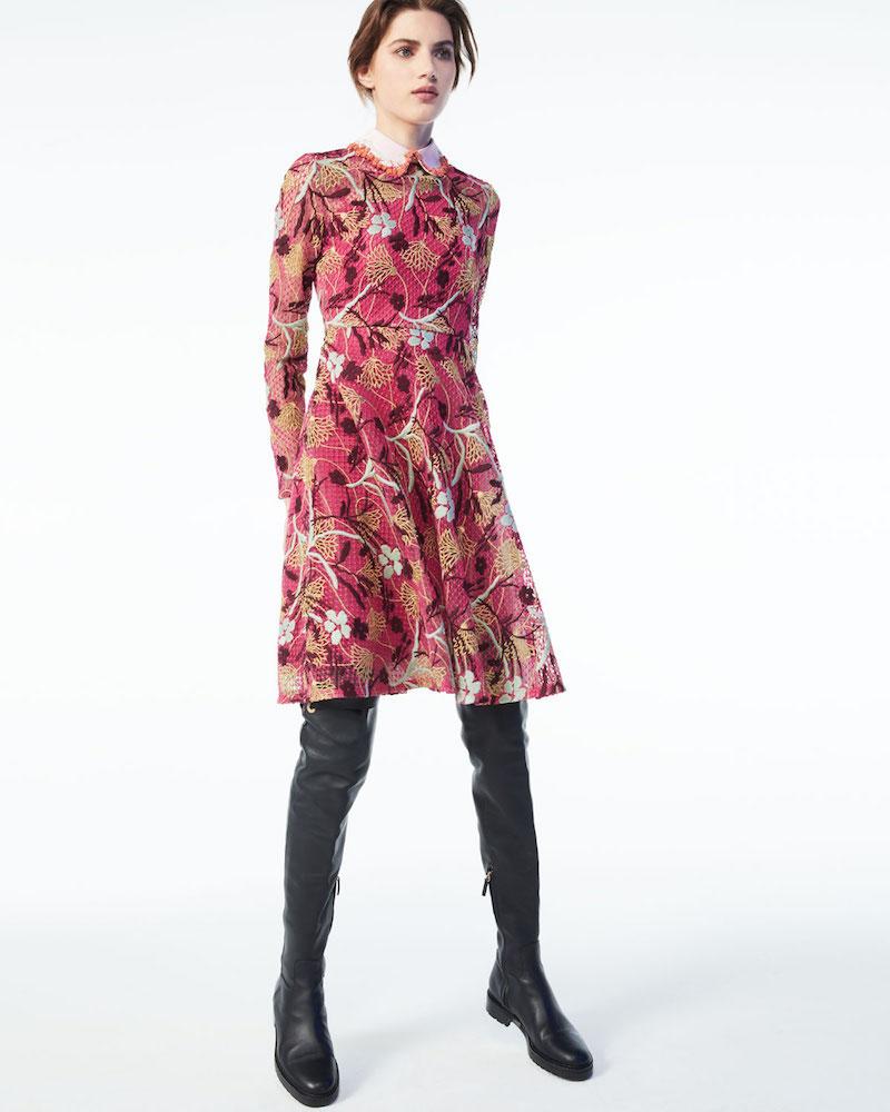 Valentino Lotus Guipure Lace Long-Sleeve Dress