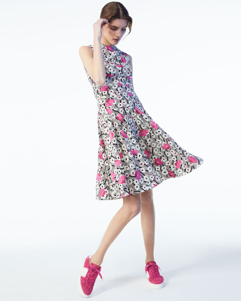 Valentino Sleeveless Floral Wave Dress