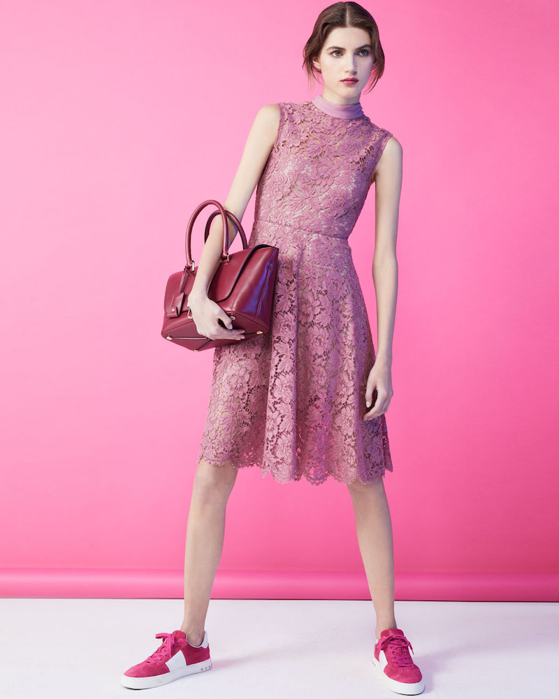 Valentino Sleeveless Heavy Lace Dress with Scarf Tie