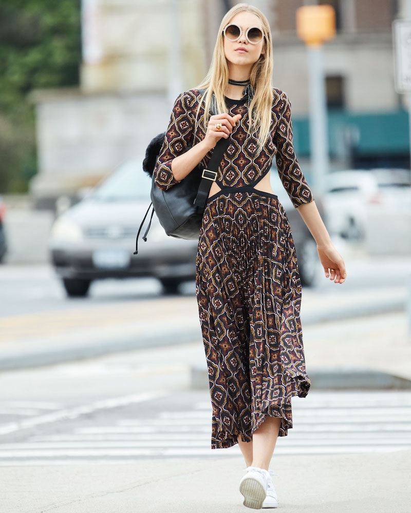 A.L.C. Holly Kaleidoscopic Cutout-Waist Pleated Midi Dress
