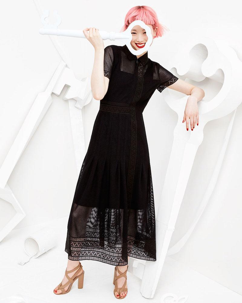 Akris punto Short-Sleeve Geometric Lace Midi Dress