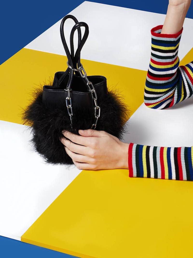 Alexander Wang Black Feather Trim Roxy Bucket Bag