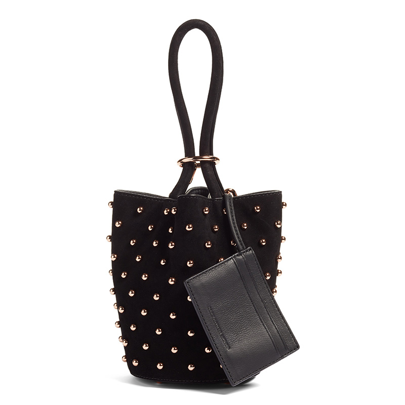 Alexander Wang Mini Roxy Studded Suede Bucket Bag