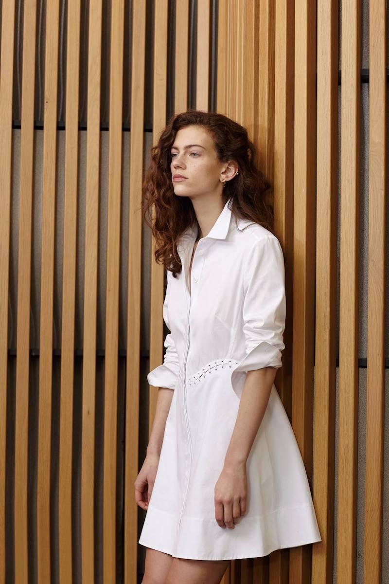 Alexander Wang White Cotton Laced Shirt Dress