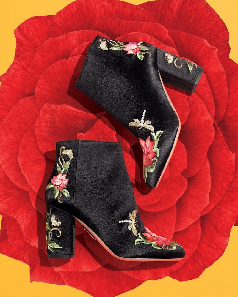 Aquazzura Lotus Satin Floral-Embroidered Bootie