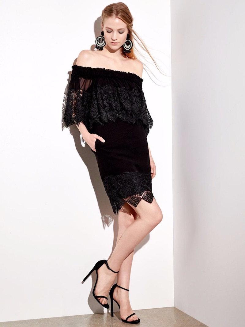 Badgley Mischka Off-the-Shoulder Lace Cape Dress