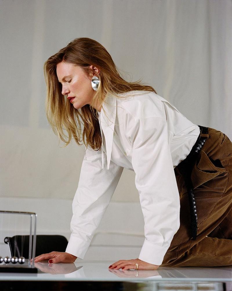 Balenciaga Oversized Tie-Neck Cotton Shirt