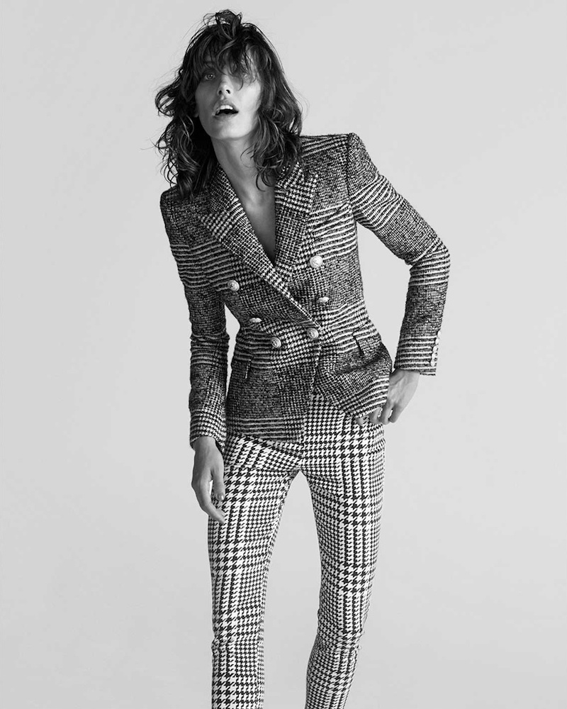 Balmain Black and White Double-Breasted Hound's-Tooth Check Blazer