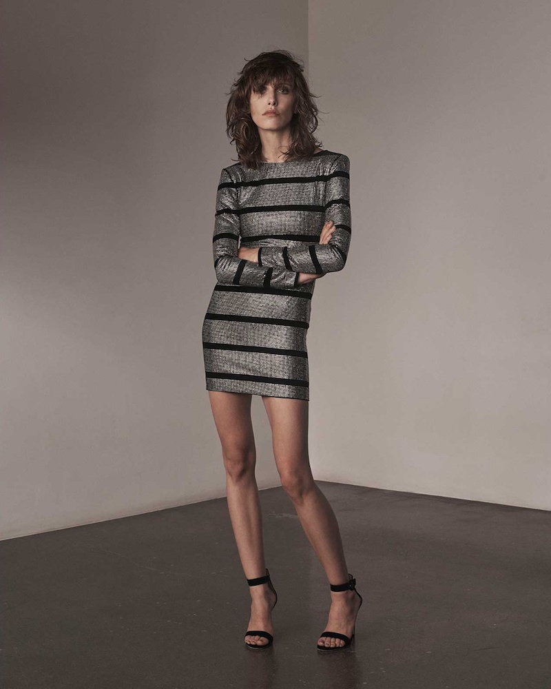 Balmain Crystal-Embellished Striped Mini Dress