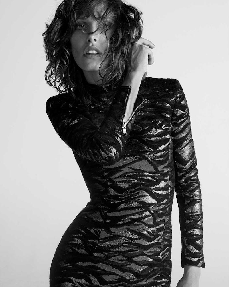 Balmain Russet and Black High-Neck Animal-Jacquard Mini Dress