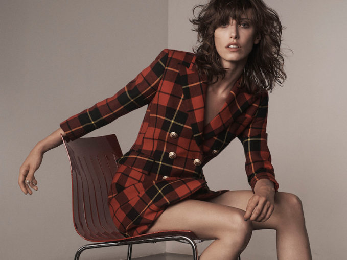 Balmain Tartan-Print Double-Breasted Wool Mini Dress